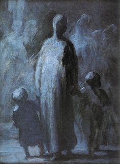 Honoré Daumier - Mother 1855  oil on panel