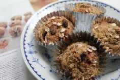 """Power Snack! MuffinsDancer Recipe: Royal Danish Ballet's multi-talented Shelby Elsbree""""Nuts and fruits can get monotonous. I decided that I should concoct a Power Snack to enjoy during our short intermissions. I came up with these multi-berry, high energy muesli muffins. They have an optimum combo of powerful, tasty ingredients in every bite.""""  Ingredients: 11/4 cup of all purpose flour 1/2 cup ground flaxseed 3/4 teaspoon baking soda 1/2 teaspoon salt 1/4 teaspoon ground cin"""
