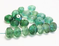 Green Ethiopian Vaseline Beads (20), African Trade Beads, Old Rustic Beads (J140)