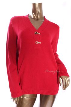 CHARTER CLUB Womens New Red V-Neck Long Sleeve Cotton Blend Sweater Knit Top  L #CharterClub #VNeck