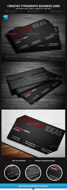 Creative Typography Business Card  #GraphicRiver