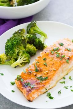 This easy oven baked salmon recipe is our favorite! It's cooked in a honey, Dijon and garlic sauce and takes just 10 minutes of prep time! Serve this healthy baked salmon with a roasted vegetable and some bread to make it a complete, 30 minute meal. Salmon Recipes Stove Top, Fresh Salmon Recipes, Healthy Salmon Recipes, Pastas Recipes, Fish Recipes, Seafood Recipes, Cooking Recipes, Dinner Recipes, Oven Baked Salmon