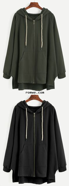 Raglan Sleeve Drawstring Hooded Zipper Sweatshirt