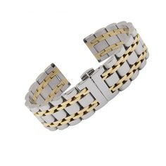 14 16 18 19 20 21 22 24 26mm New Men Women Silver Two Tone 316L Solid Stainless Steel Bracelet Watch Band Strap Belt Luxury