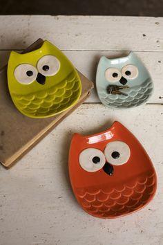 Ceramic Owl Plates