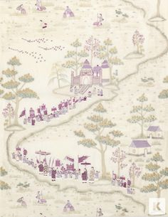 Cathay Parade Fabric from Nina Campbell. An Oriental themed embroidered curtain fabric depicting an ancient Chinese festival featuring figures in traditional dress bearing flags with pagodas and parasols, parading down a scenic rural path. Woven in magent Quirky Wallpaper, Wallpaper Gallery, Love Wallpaper, Fabric Wallpaper, Chinoiserie Wallpaper, Beautiful Wallpaper, Nina Campbell Wallpaper, Purple Home Decor, French Fabric