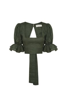 All That Remains - Annastasia Linen Top Forest Green – Aquelarre Shop Look Fashion, Fashion Outfits, Fashion Design, Looks Style, My Style, Mode Streetwear, Look Vintage, Diy Clothes, Blouse Designs