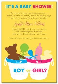 Neutral/ No Gender Baby Shower Invitation- yellow, green, white