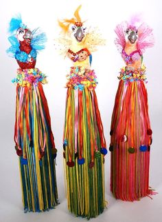 "Katherine's Collection Set  THREE Gina Parrot 17"" Wine Bottle Toppers"