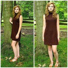 Item:  60s Stanton Jrs. Petite Brown Mod High-Collar Shift Dress- Size S-M    Description: Mod high-collar dress  60s shift dress  Partially