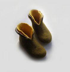 Filz wolle Hausschuhe / Schuhe für Damen Farbe Haus / weiss / Moos / gelb