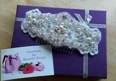 Pearl & Diamante bridal hair comb handmade by Beautiful Unique