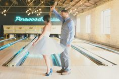 Nashville bowling alley engagement shoot | Photo by Jessie Holloway | Read more - http://www.100layercake.com/blog/?p=79479
