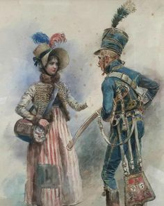 A very nice painting showing a French hussar's uniform while displaying civilian dress of the era.