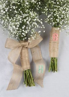 Wrap your bouquet in this beautiful personalized rustic jute ribbon available in two different lengths. Style DB7103 at David's Bridal.