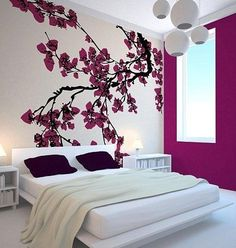 Bath design bedrooms colour girl room small purple master japanese bedroom decor appealing modern spring couples and spaces grey style teenage bedding Beautiful Bedroom Designs, Beautiful Bedrooms, Beautiful Wall, Japanese Bedroom Decor, Bed Designs With Storage, Design Your Bedroom, Wallpaper Decor, Bedroom Wallpaper, Wallpaper Ideas
