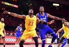 "I Can See For Myles And Myles (haiku) "" Maryland's fail; play - a high major at home when - students are on break"" Seton Hall Pirates center Romaro Gill (35) fights for a rebound with Maryland Terrapins forward Bruno Fernando (23)"