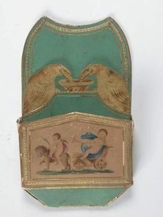 One of a pair of card racks made of decorated cardboard, French, c. 1820, at Attingham. ©National Trust/Claire Reeves