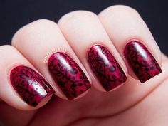 Hot Red Nails Art
