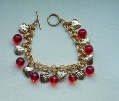 Heart Charm Bracelet Vintage Gold Plated Pewter by LilisGems, $38.00