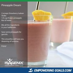 pineapple-dream Lisa Stevenson will show you how to use your Isagenix Products t. - pineapple-dream Lisa Stevenson will show you how to use your Isagenix Products t. pineapple-dream Lisa Stevenson will show you how to use your Isage. Protein Shake Recipes, Smoothie Recipes, Protein Shakes, Drink Recipes, Milkshake Recipes, Coctails Recipes, Tea Recipes, Recipies, Eating Clean