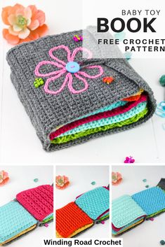 Crochet baby toy book full of textures Free pattern and video tutorials for all the stitches used as pages Winding Road Crochet crochetbook crochetpattern babytoy crochettoy Crochet Baby Toys, Crochet Gifts, Crochet For Kids, Easy Crochet, Free Crochet, Knit Crochet, Crochet Animals, Crotchet, Knitting Patterns