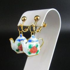 Rose Teapot Earrings Enameled White Red Blue Screw back | Etsy Screw Back Earrings, Drop Earrings, Orange Roses, Vintage Roses, Teapot, Red And Blue, Enamel, Hand Painted, Gold