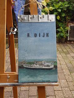 Persoonlijk naambordje met de boot van de eigenaar