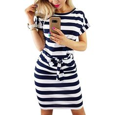 fa76e9fec2 PALINDA Women s Striped Elegant Short Sleeve Wear to Work Casual Pencil  Dress with Belt (Navy