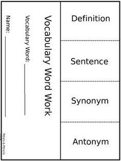 FREEBIE Vocabulary Word Work Literacy Foldable