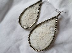 Zipper and Lace Earrings by KariMcMurphy on Etsy