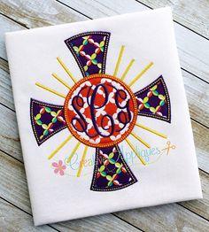 Monogram Cross  Machine Embroidery Applique Design 4 SIZES on Etsy, $3.99