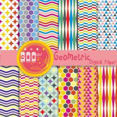 Geometric digital paper 'geometric' 12 papers by GemmedSnail, $4.80