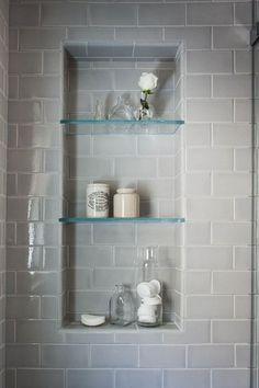 "Contemporary Master Bathroom with High ceiling, Master bathroom, Ectangle corner shelves 6"" x 12"" (1/4"" thick)"