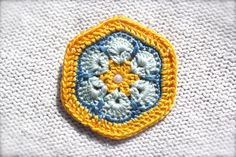 Crochet Flower Brooch Pin African Flower Yellow by CatWomanCrafts, $10.00
