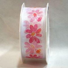 Nastro di organza bianco deco fiori margherite, bordo animato per fiocchi perfetti. H.4 cm lungo 20 mt. Decorazioni e bomboniere disponibile da C&C Creations Store
