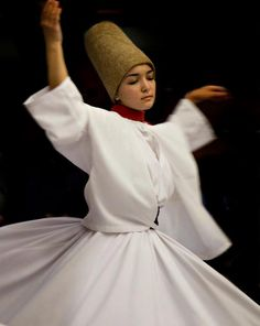 Whirling Dervish or Darvish (from Persian درویش )-The followers of Jalal ad-Din Muhammad Balkhi-Rumi, a 13th-century Persian poet, Islamic jurist, and theologian. They are also known as the Whirling Dervishes due to their famous practice of whirling as a form of dhikr (remembrance of God). >>Turkish :)