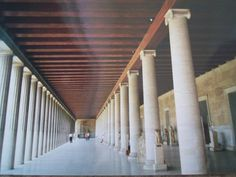 Note the double colonnade with exterior Doric and interior Ionic columns in the reconstructed Stoa of Attalos.