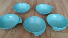 Lot Small Aqua Bowls with Handles Melamine Melmac 50's Retro Atomic Mid Century
