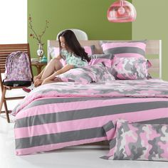Gray Pink and White Camouflage Pattern with Wide Ticking Stripe Full, Queen Size Girls Bedroom Cotton Bedding Sets Pink Bed Sheets, Pink Bedding Set, Girls Bedding Sets, Striped Bedding, Cotton Bedding Sets, Luxury Bedding Sets, Ticking Stripe, Sheets Bedding, Gray Bedding