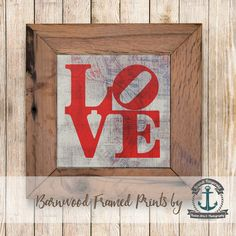 Philadelphia Love Red and Grey Framed in Reclaimed Barnwood Cities &... ($42) ❤ liked on Polyvore featuring home, home decor, wall art, grey, home & living, home décor, wall décor, unicorn home decor, handmade wall art and red home accessories