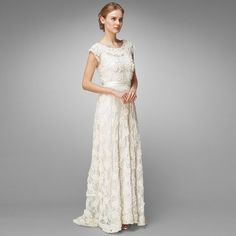 Elegant V-neck Lace Wedding Dress for Older Brides Over 40, 50, 60 ...