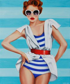 """Giclee Print of Original Oil Painting by Rose Miller inspired by fashion, vogue, pop art, figures, figurative and art. """"Elle Nautica"""""""
