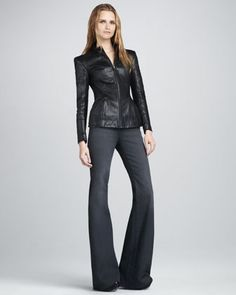 OMG- I'm obsessed with lots of leather for the Fall!     Jabari Leather Jacket & Pinhas Wide-Leg Jeans by Theyskens\' Theory at Neiman Marcus.