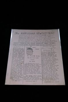 The Marijuana Newsletter 1    Maynard and Miles C103. Fine.