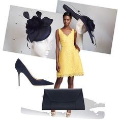Navy & Yellow Derby Outfit with Navy Pill Box Hat