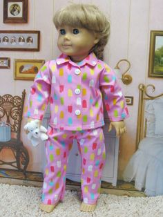 Pink Popsicle Classic 2 pc PJ for American by DollClothesByPeg, $10.97
