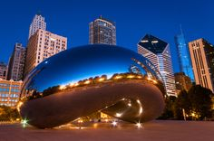 Yes it is a real stainless steel Sculpture in Chicago and not some camera effect, Cloud Gate