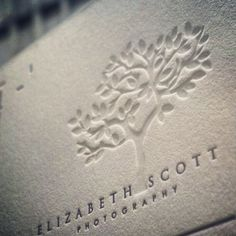 Beautiful letterpress tree in this white business card design by dolcepress