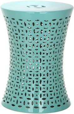 A graceful hourglass silhouette lends updated transitional style to the deep aqua Camilla indoor-outdoor garden stool. Crafted of glazed ceramic with an al